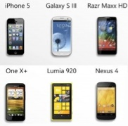 foto del iPhone 5, Samsung Galaxy S III, Motorola Droid Razr Maxx HD, HTC One X+, Nokia Lumia 920 y Nexus 4