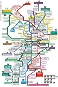 Mapa de todos los metros de Barcelona, España