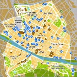 florencia mapa de hoteles