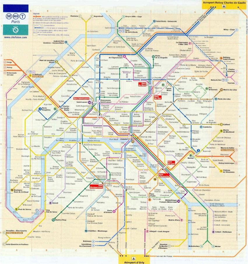 Mapa o plano del Metro de Paris