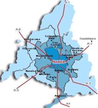 Mapa de las Zonas de la Comunidad de Madrid