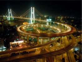 Foto nocturna de Shanghai